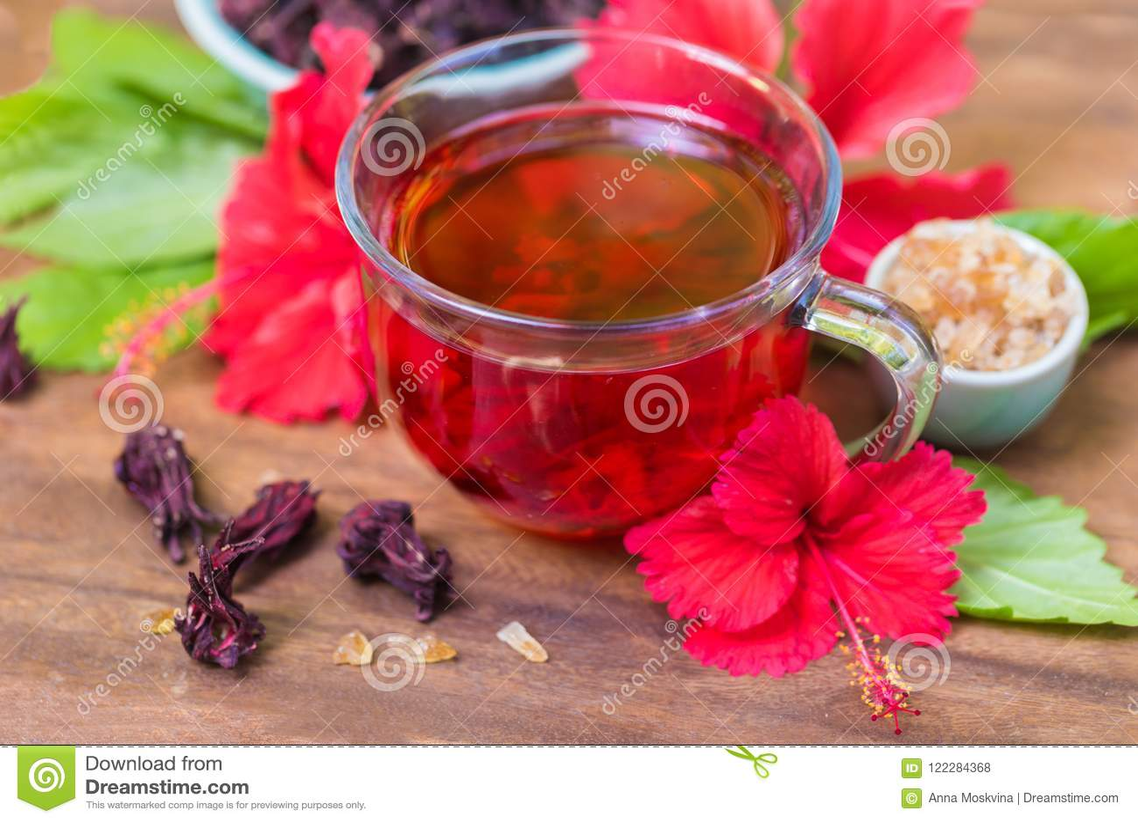 Red Karkade Hibiscus Red Sorrel Tea In Glass Mug Roselle Flowers