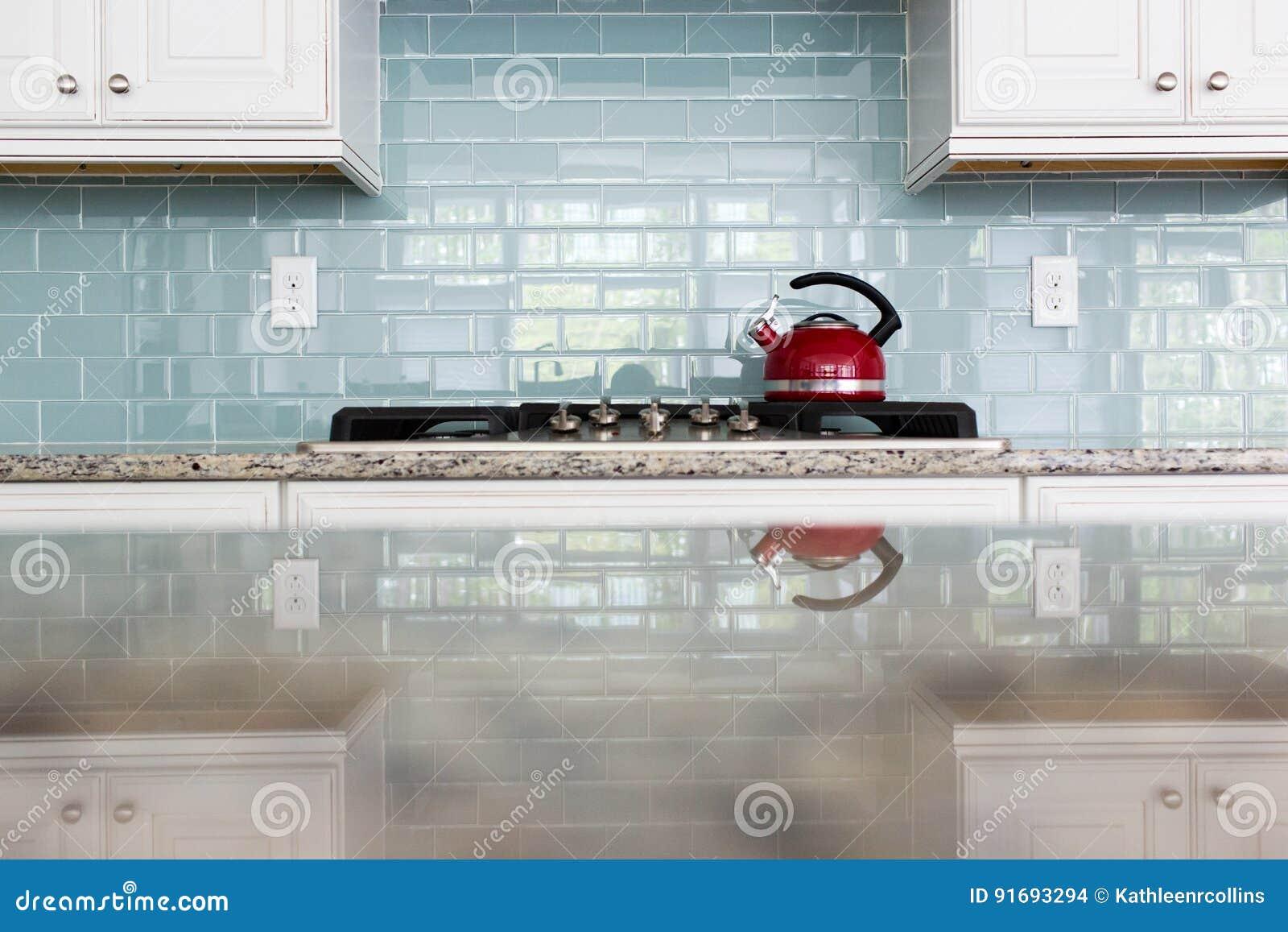 Red Kettle Glass Backsplash Subway Tile Kitchen Stock Photo ...