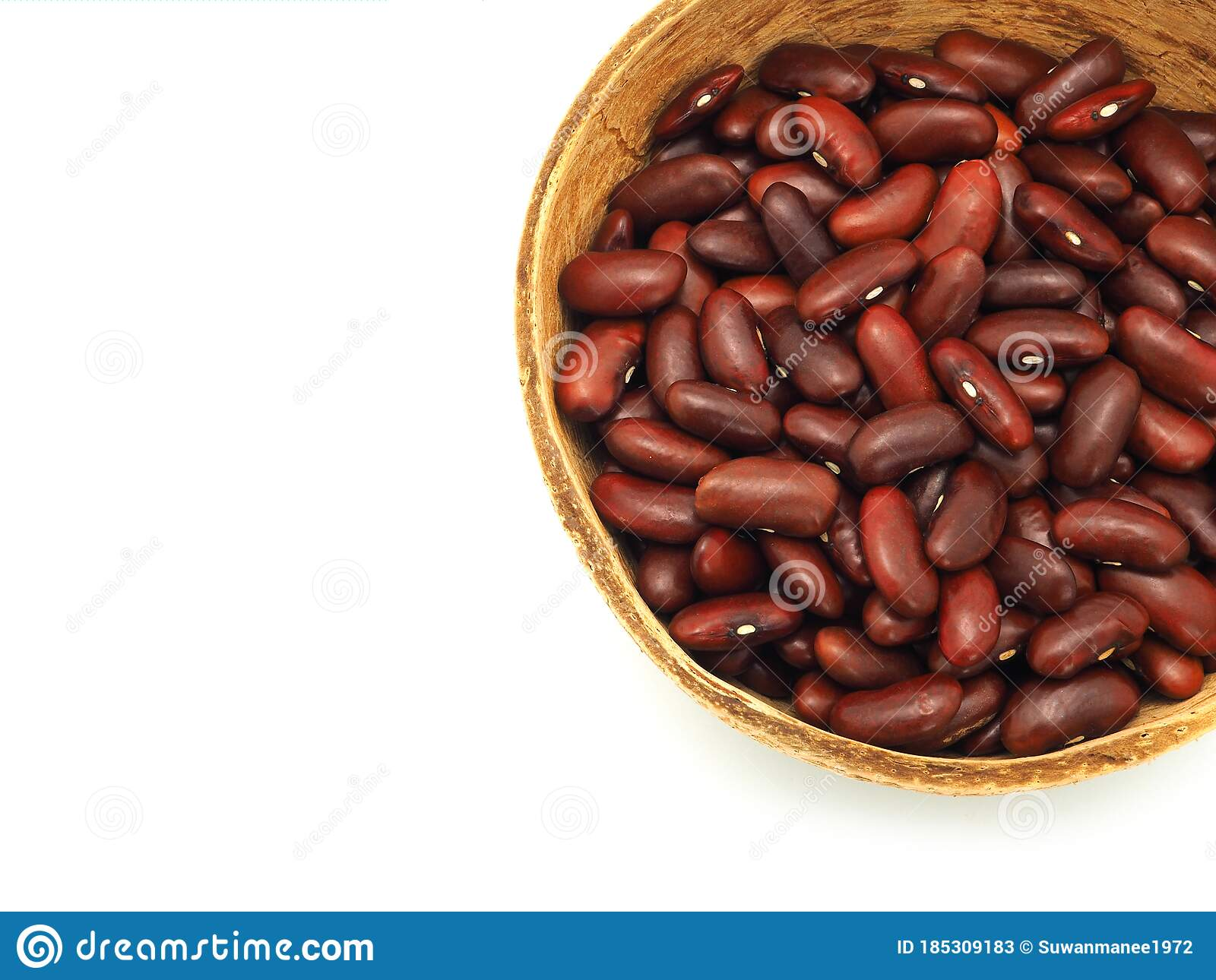 Red Kidney Beans In A Coconut Shell Bowl Stock Image Image Of Pile Grain 185309183