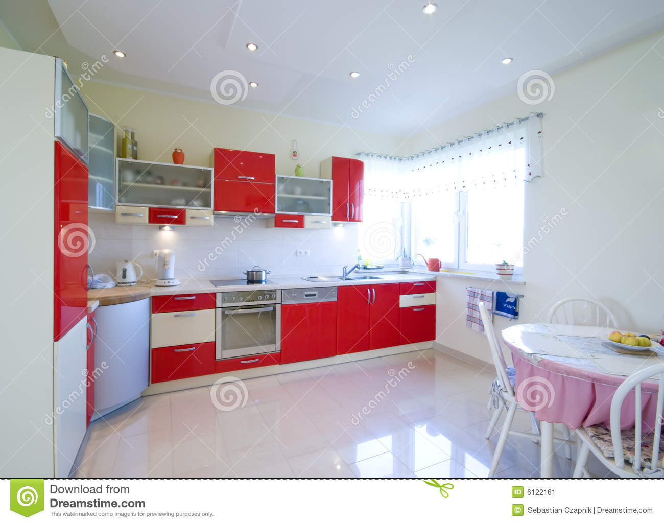 Red kitchen stock image. Image of bright, chairs, home - 6122161