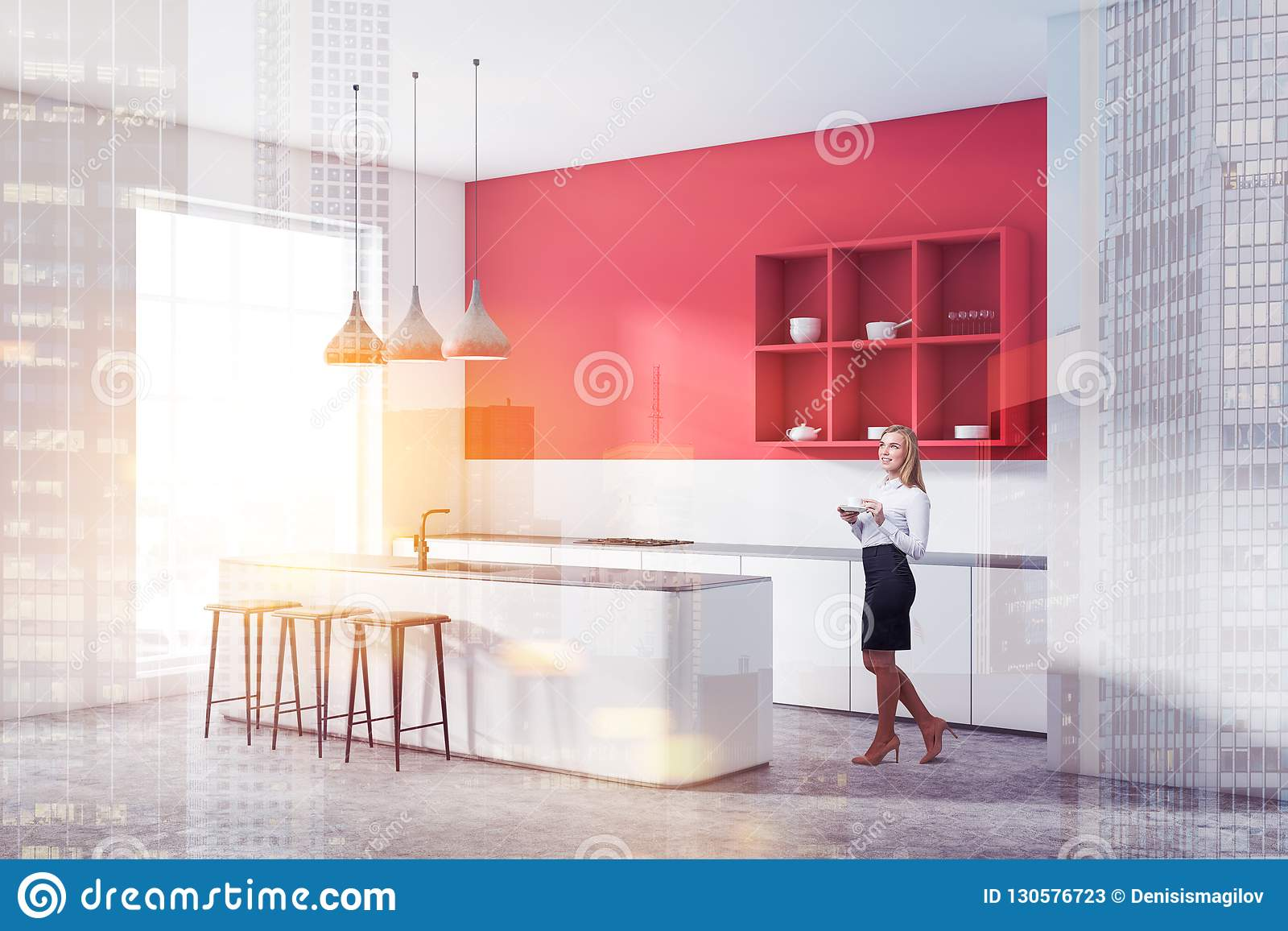 Red Kitchen Corner With Bar And Shelves Woman Stock