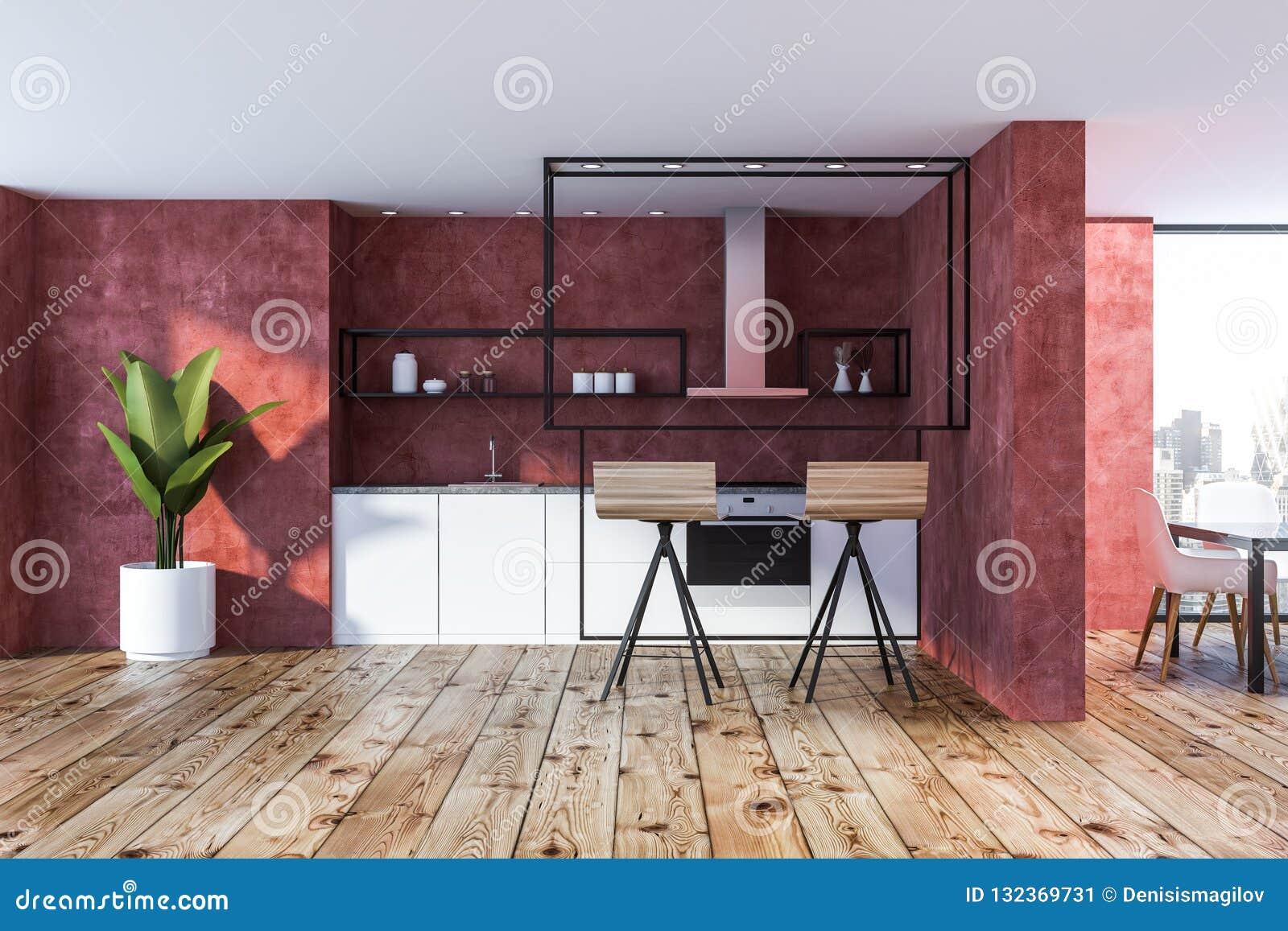 Sensational Red Kitchen Interior Stools Stock Illustration Ibusinesslaw Wood Chair Design Ideas Ibusinesslaworg