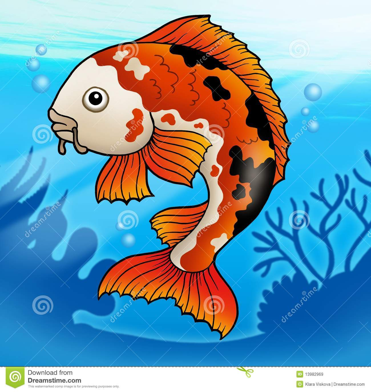 Red koi fish in water stock illustration image of aquatic for Koi fish in water