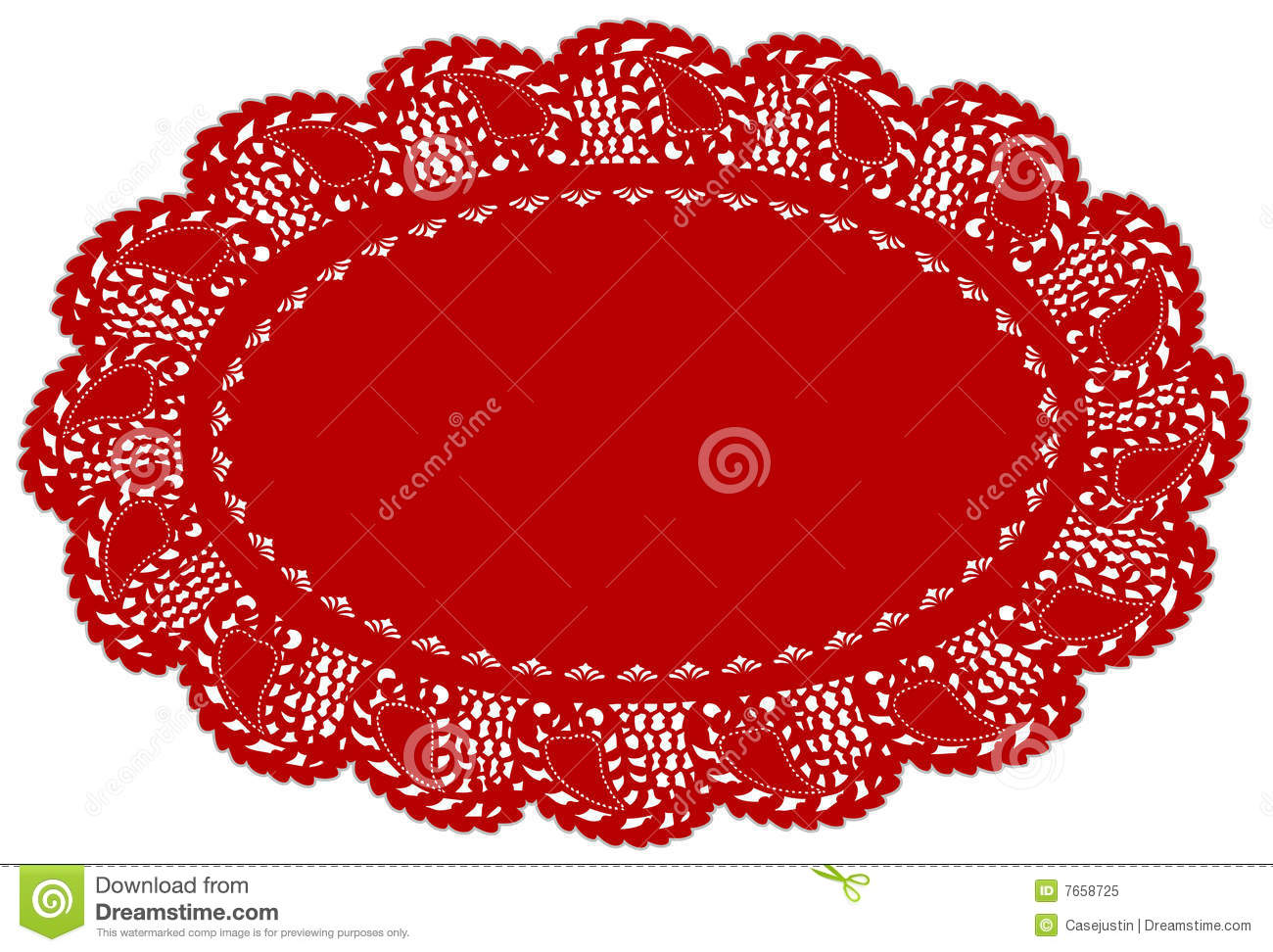 Red Lace Doily Place Mat Leaf Edge Stock Vector
