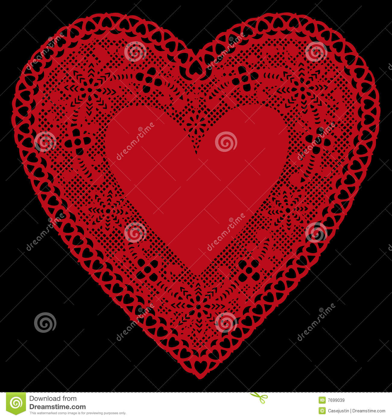 Red Lace Heart Doily On Black Background Stock Vector