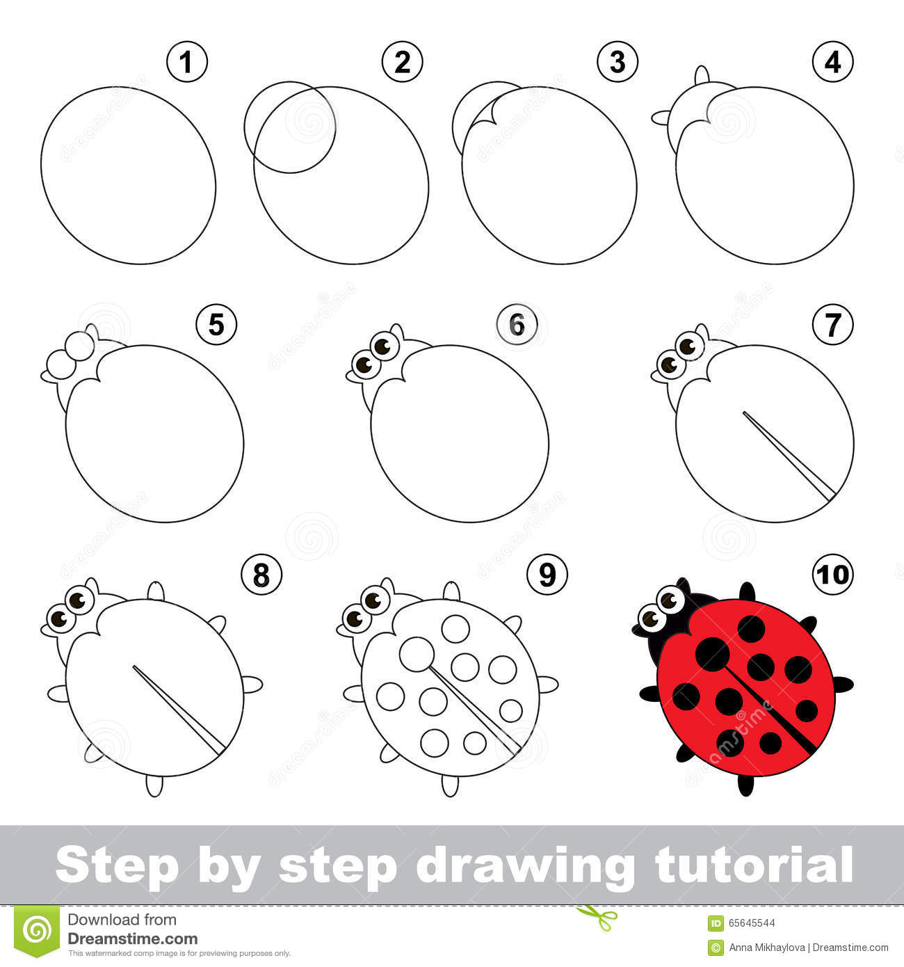 Red Ladybug. Drawing Tutorial. Stock Vector - Illustration ...