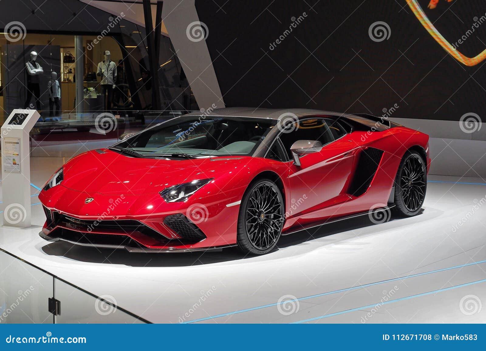 88th Geneva International Motor Show 2018 Lamborghini Aventador Sv Editorial Stock Photo Image Of Mortorshow 88th 112671708