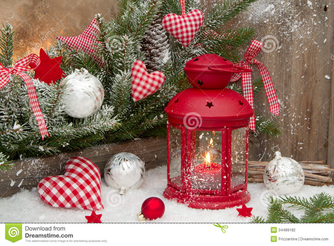 red lantern with candlelights an checked heards for a christmas stock photo image 34489182. Black Bedroom Furniture Sets. Home Design Ideas