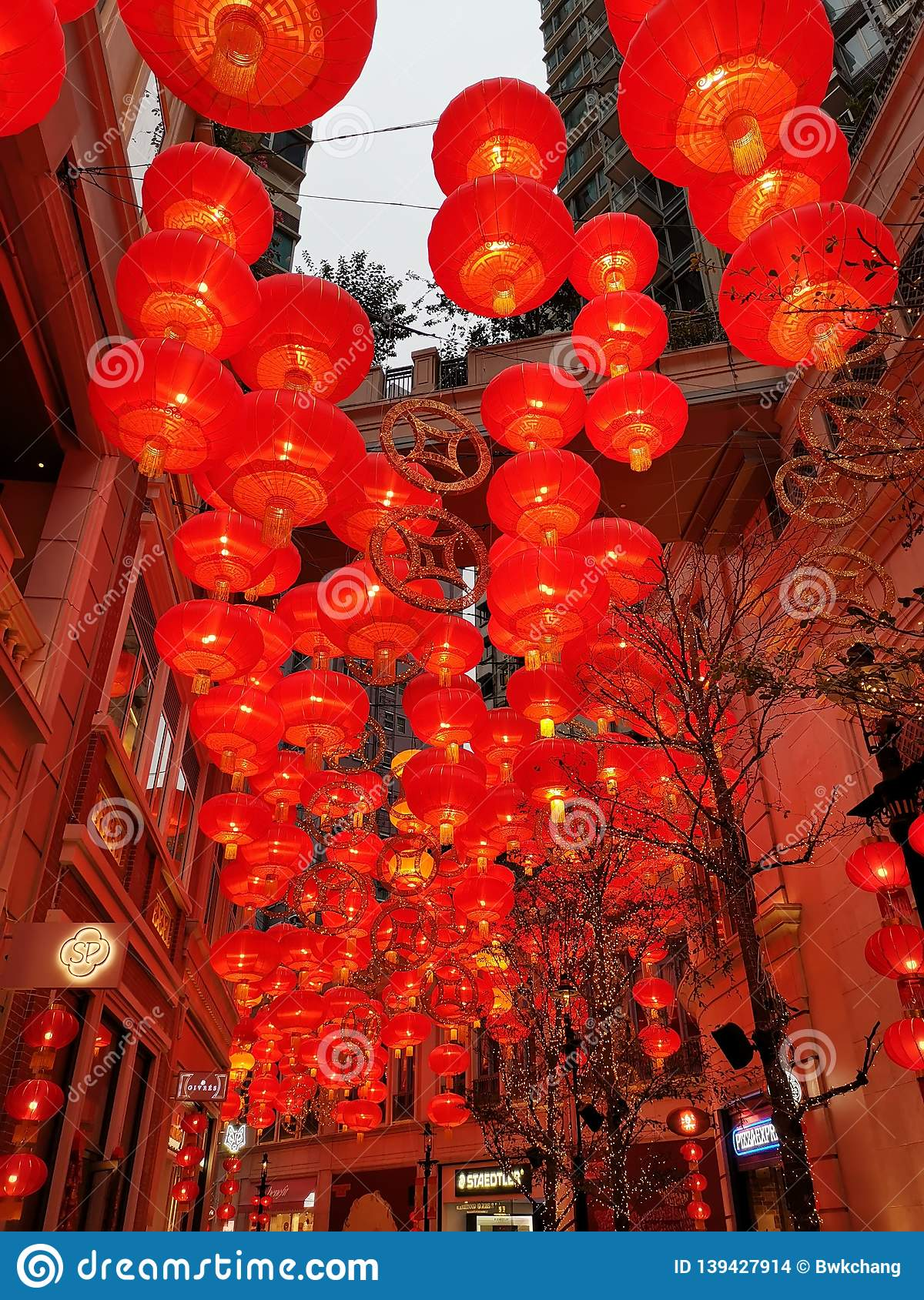 Red lanterns at Lee Tung Street for Chinese New Year