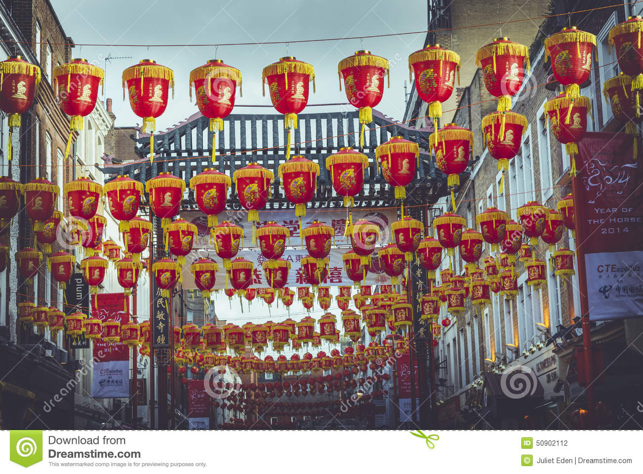 Red Lanterns in London editorial photography. Image of ...