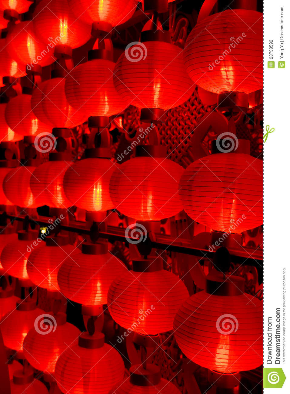 Red lanterns at night for chinese new year stock photography image