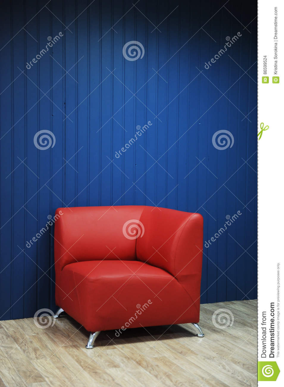 Astonishing Red Leather Armchair On A Background Of Blue Walls Texture Customarchery Wood Chair Design Ideas Customarcherynet