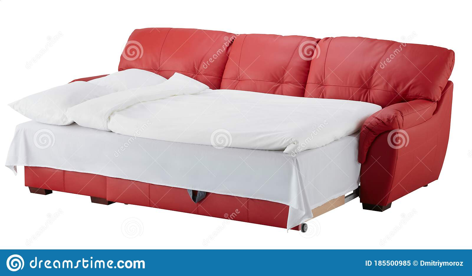 Picture of: Red Leather Corner Couch Bed Isolated On White Stock Image Image Of Bedroom Design 185500985