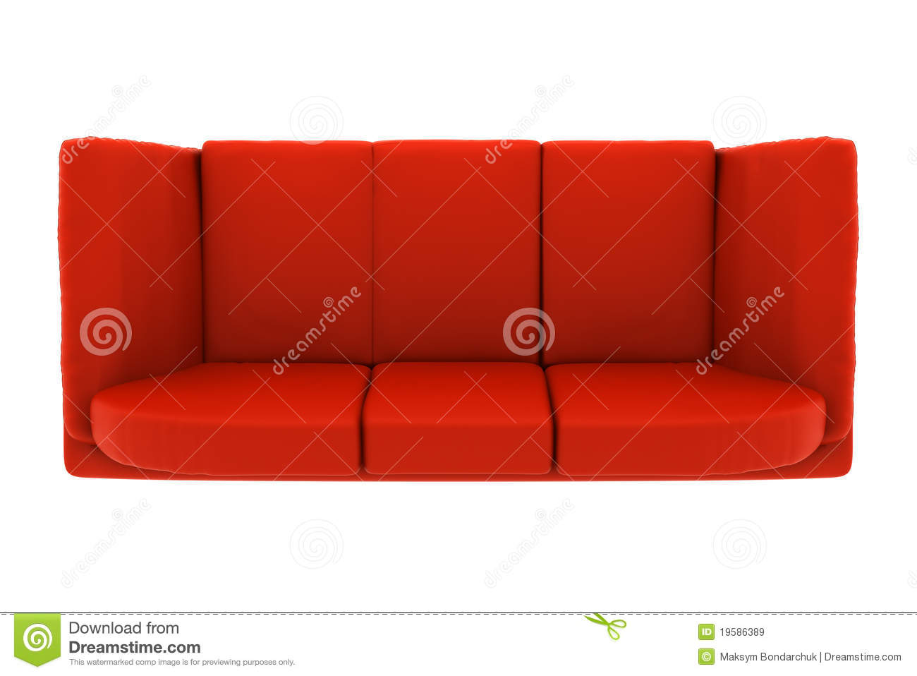 Red Leather Couch Isolated On White Top View Royalty Free