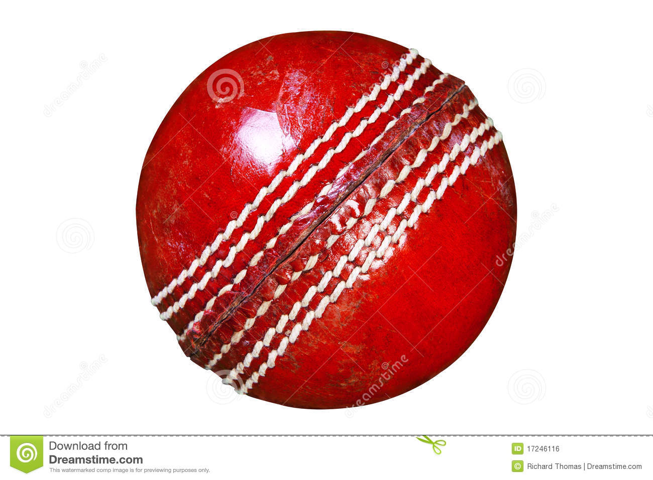 Red Leather Cricket Ball Isolated Clipping Path. Royalty ...