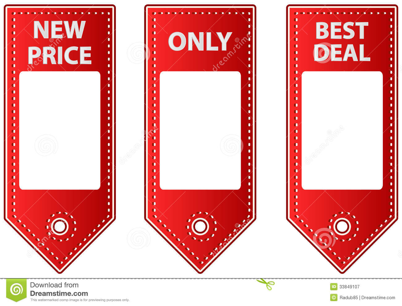 Red Leather Sale Tags With Blank Labels For Price Royalty Free Stock ...