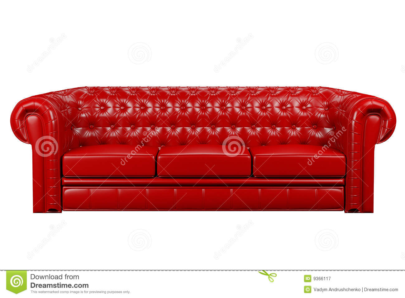 Red leather sofa 3d stock image. Image of decor, button - 9366117