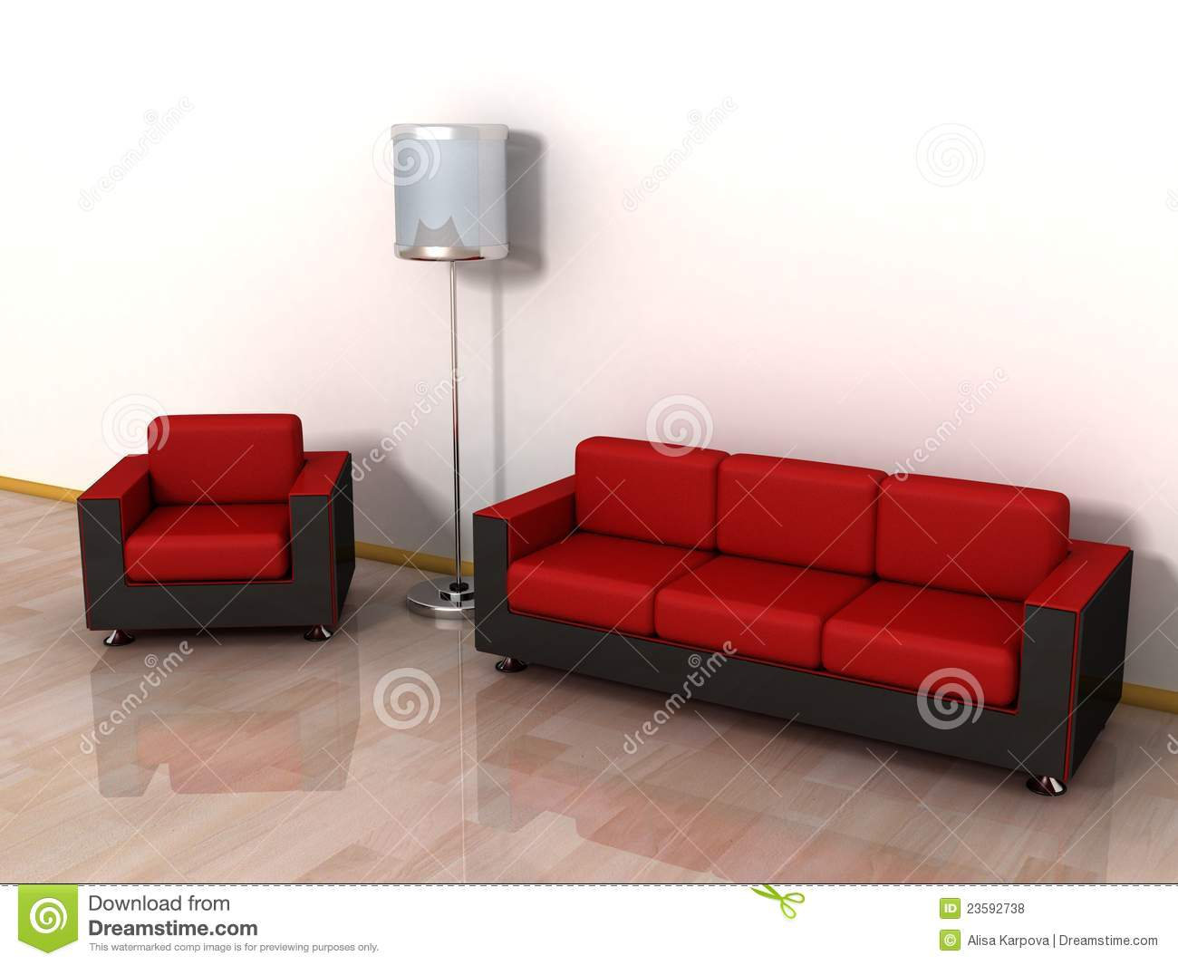red leather sofa arm chair and stylish floor lamp royalty free stock photos. beautiful ideas. Home Design Ideas