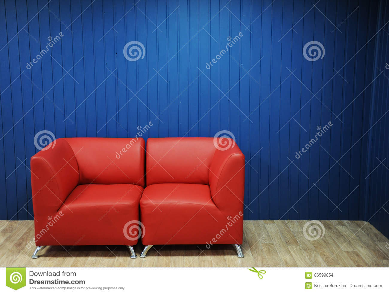 Sensational Red Leather Sofa On A Background Of Blue Walls Texture For Ibusinesslaw Wood Chair Design Ideas Ibusinesslaworg