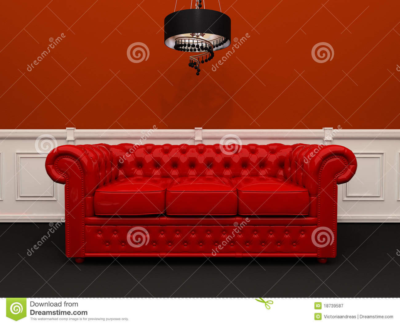 Red Leather Sofa With Chandelier Interior Stock