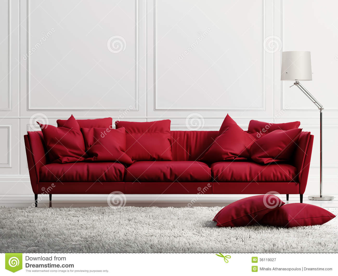 Red Leather Sofa In Classic White Style Interior Stock Illustration ...