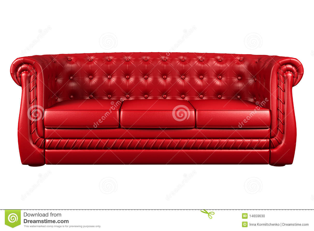 Red leather sofa isolated over white 3d