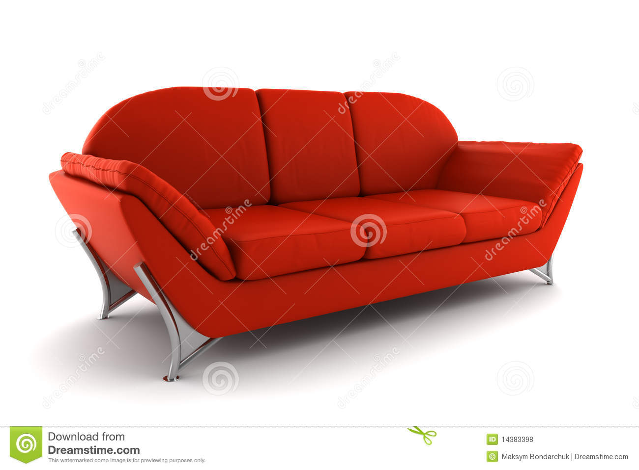 Red leather sofa isolated on white background stock photo for Red white sofa