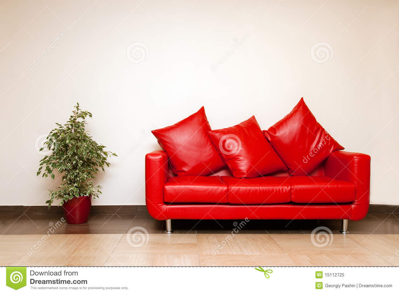 Red leather sofa with pillow with plant near