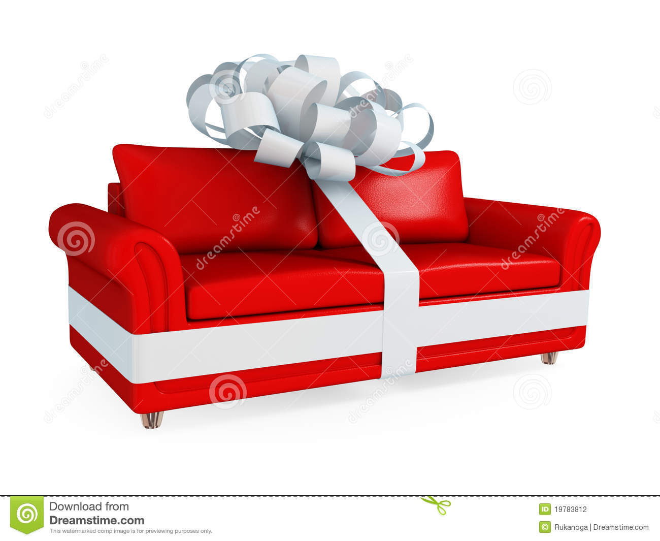 Red leather sofa wrapped with a white ribbon stock for Red white sofa