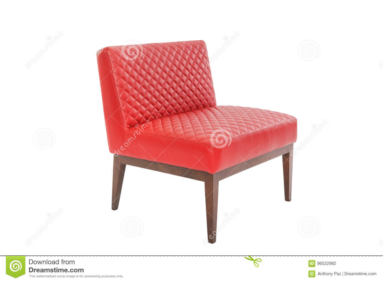Red leather and wood armchair modern designer