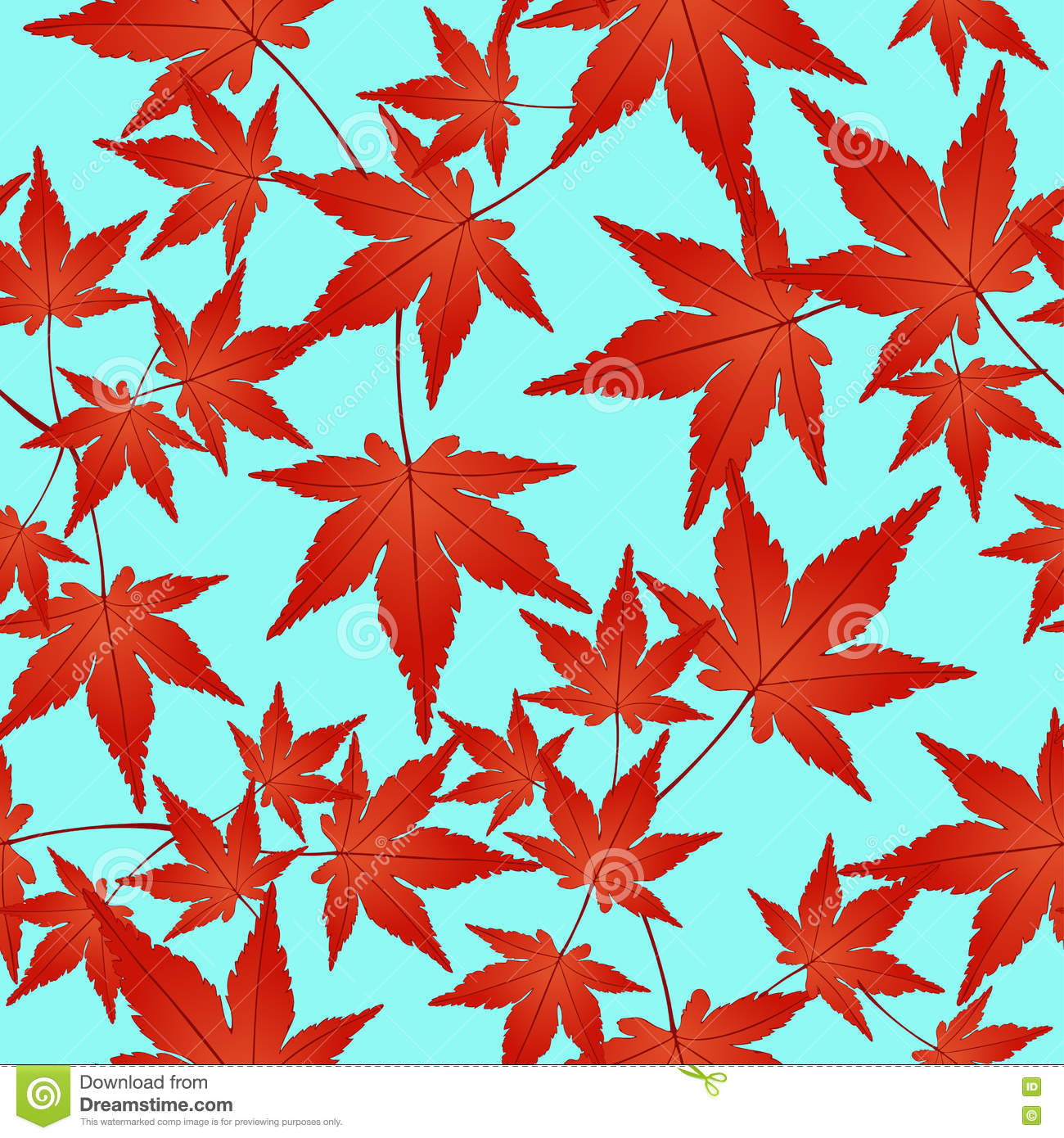 red leaves seamless pattern, vector background. autumn on a blue