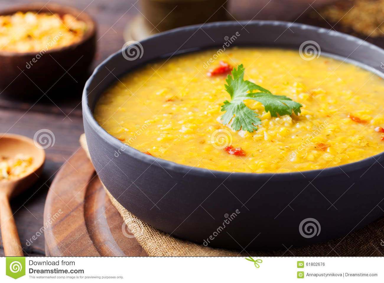 Download Red Lentil Indian Soup With Flat Bread. Masoor Dal. Stock Photo - Image of meal, indian: 61802676