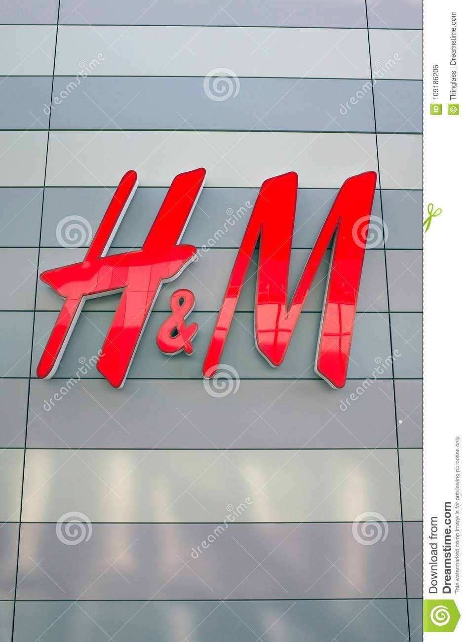The Red Letters H M Brand Name For The Clothing Store Editorial