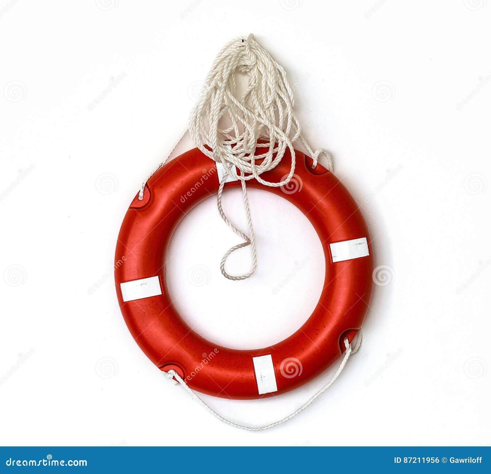 Red lifebuoy isolated over white background