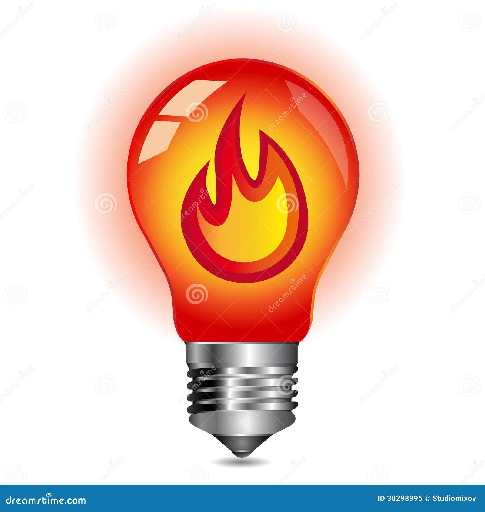 Energy Concept Fire Inside The Light Bulb Stock Illustration Image 30298995