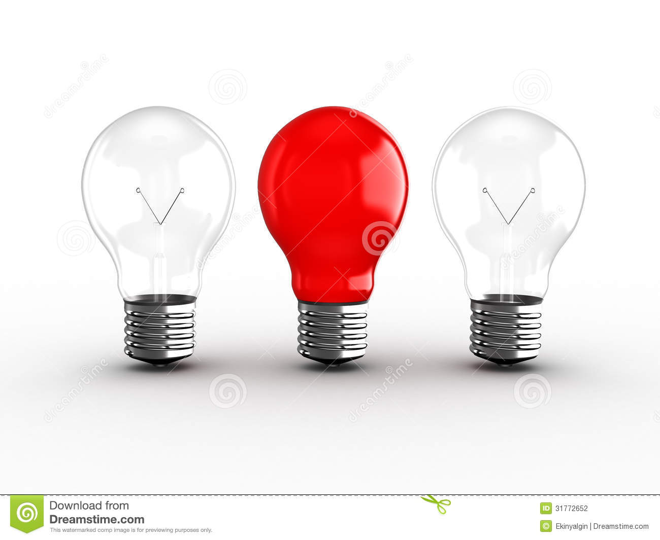 Red Light Bulb Among Two Stock Photography Image 31772652