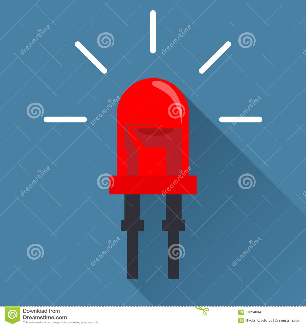 Red light emitting diode flat design icon with long shadow