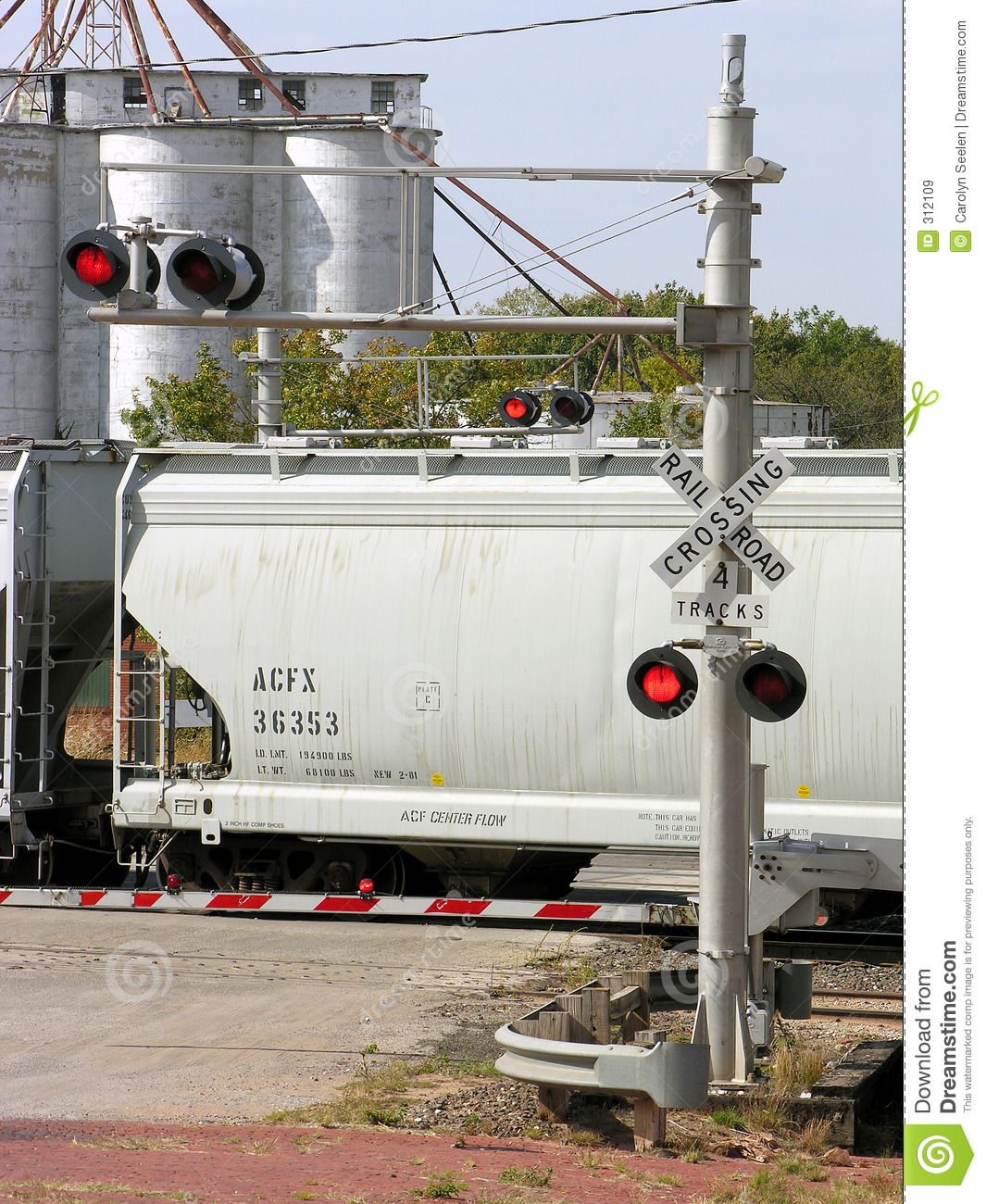 Red light railroad crossing stock image