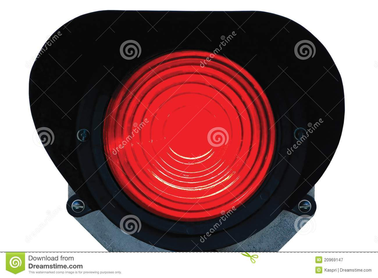 Red Light Railway Traffic Signal Isolated Stock Image