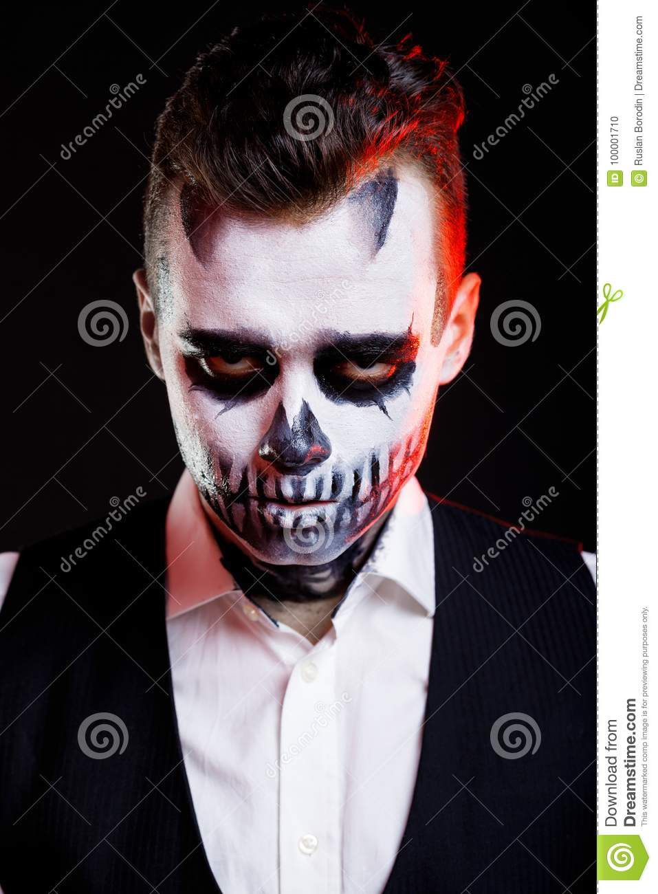 red lights on man with creative make up for the halloween party stock photo image of dead. Black Bedroom Furniture Sets. Home Design Ideas