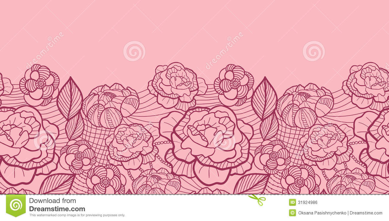 Pink Flower Line Drawing : Pink line art flowers horizontal seamless pattern vector