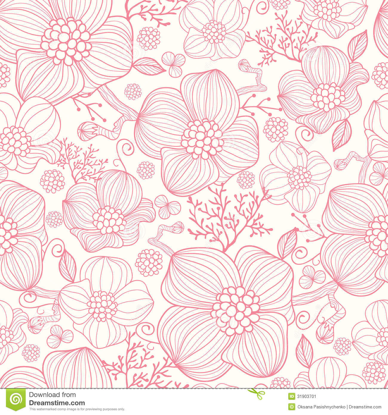 Vector Line Drawing Flower Pattern : Red line art flowers seamless pattern background stock