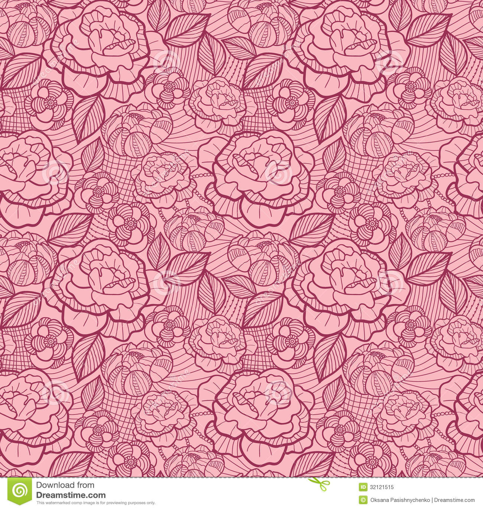 Line Art Flower Pattern : Red line art flowers seamless pattern background royalty