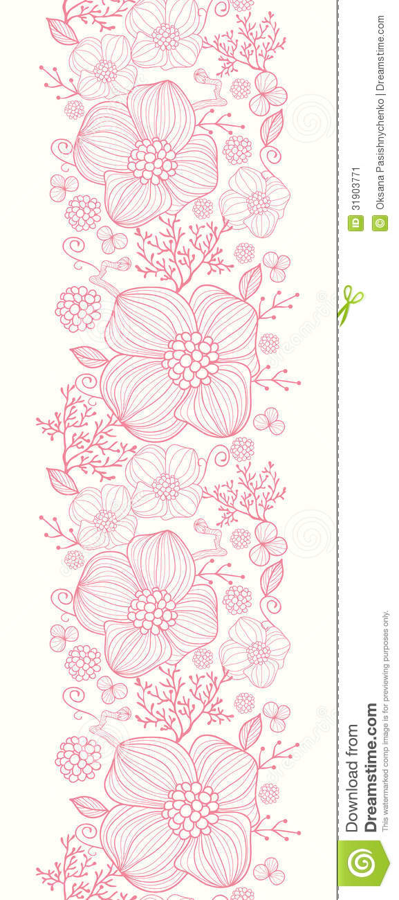 Pink Flower Line Drawing : Red line art flowers vertical seamless pattern stock image