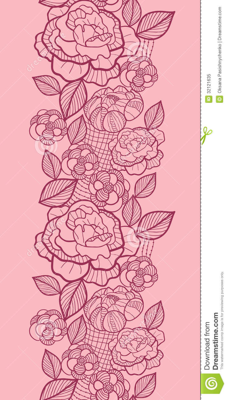 Red Flower Line Drawing : Flower drawing vertical line seamless pattern vector