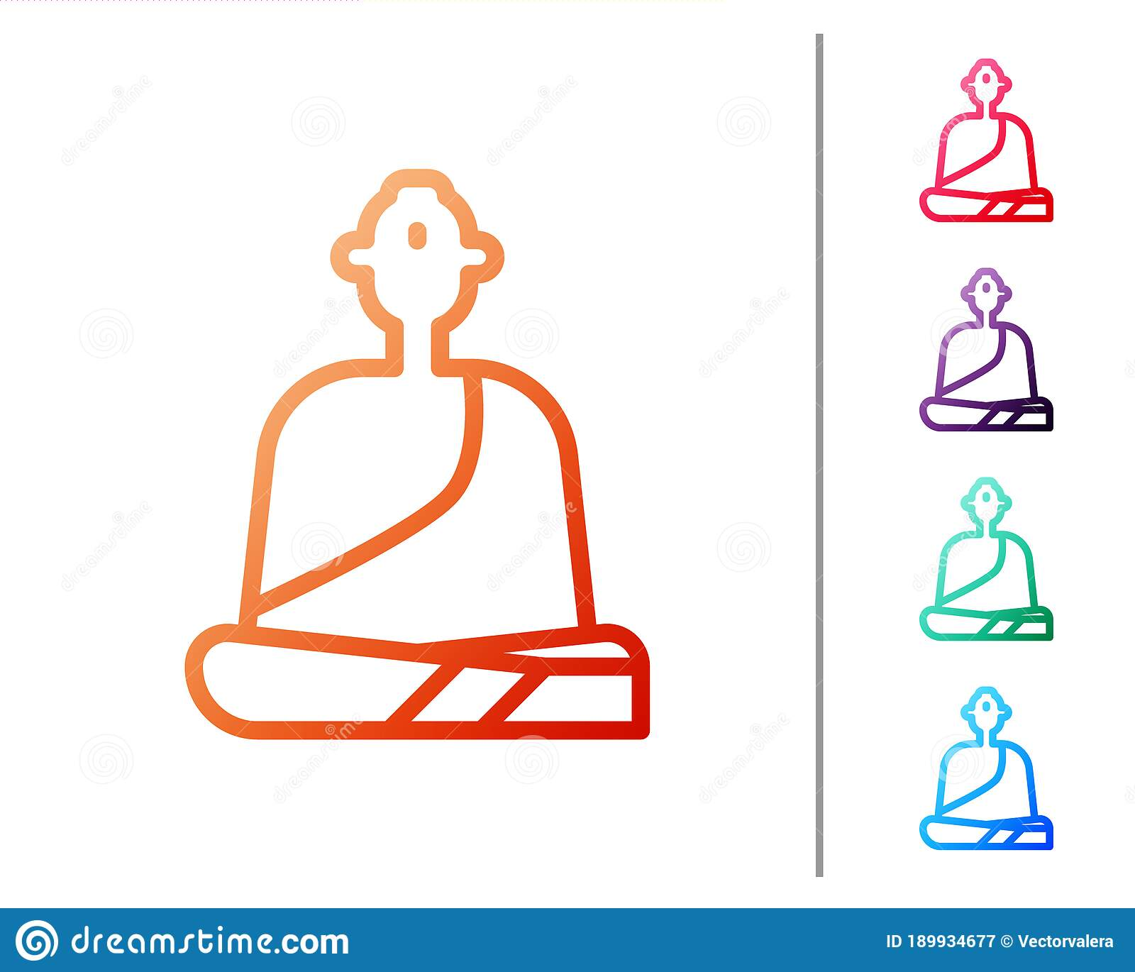 Red Line Buddhist Monk In Robes Sitting In Meditation Icon Isolated On White Background Set Color Icons Vector Stock Vector Illustration Of Monk Design 189934677