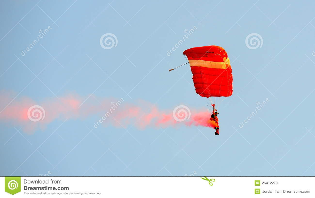 Red Lions Parachuting With Singapore Flag Editorial Image