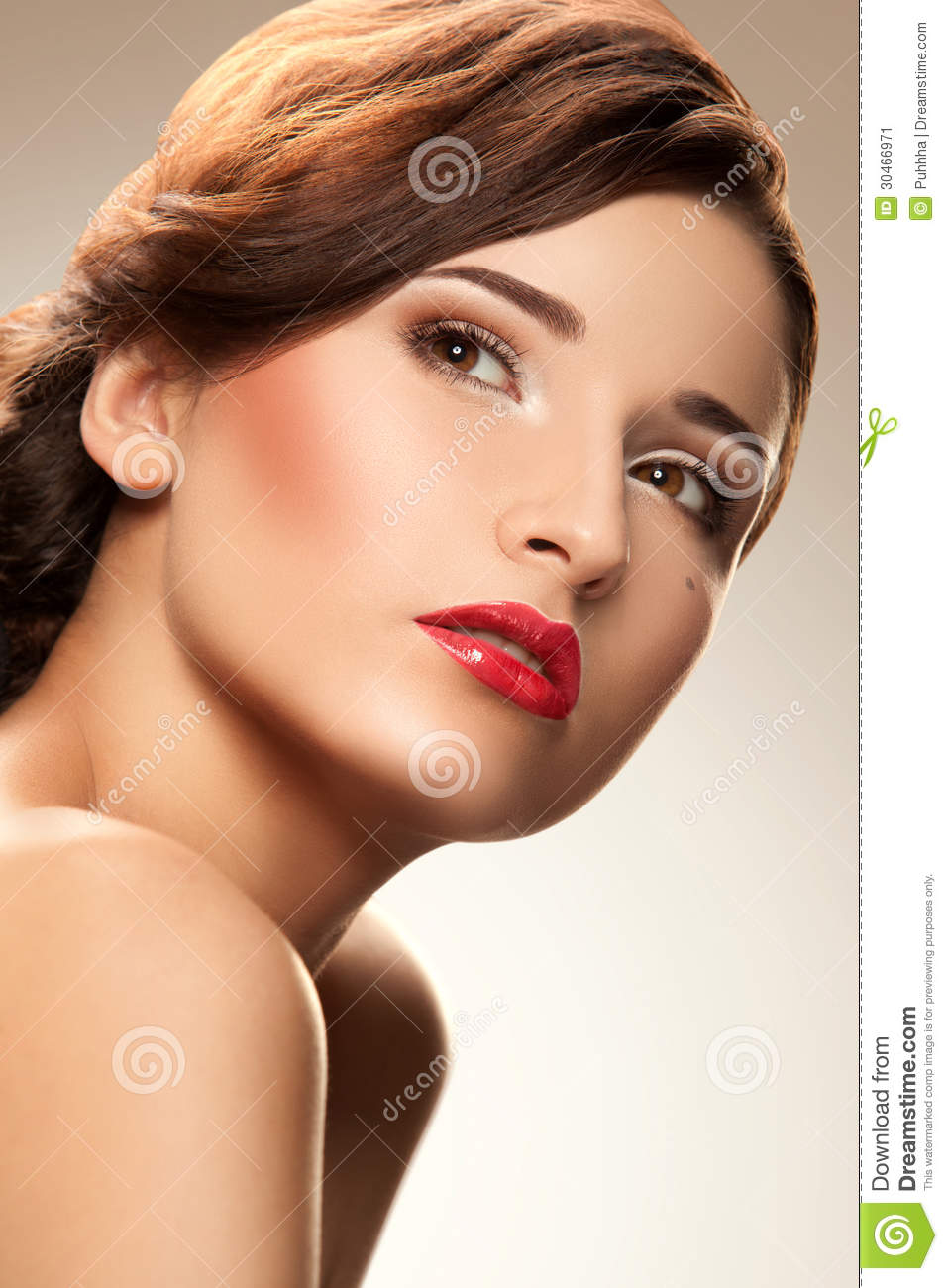 Red Lip. Woman With Nice Makeup And Red Lipstick Stock