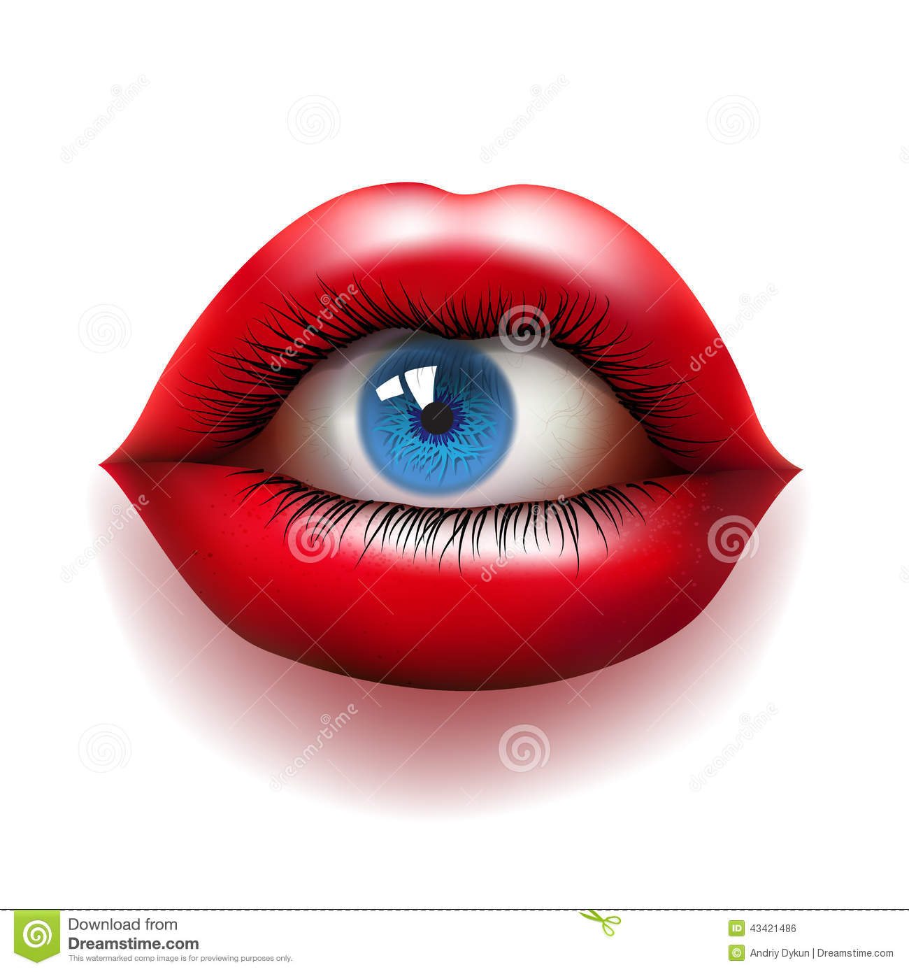 Red Lips With Eye Stock Vector. Illustration Of Eyelash