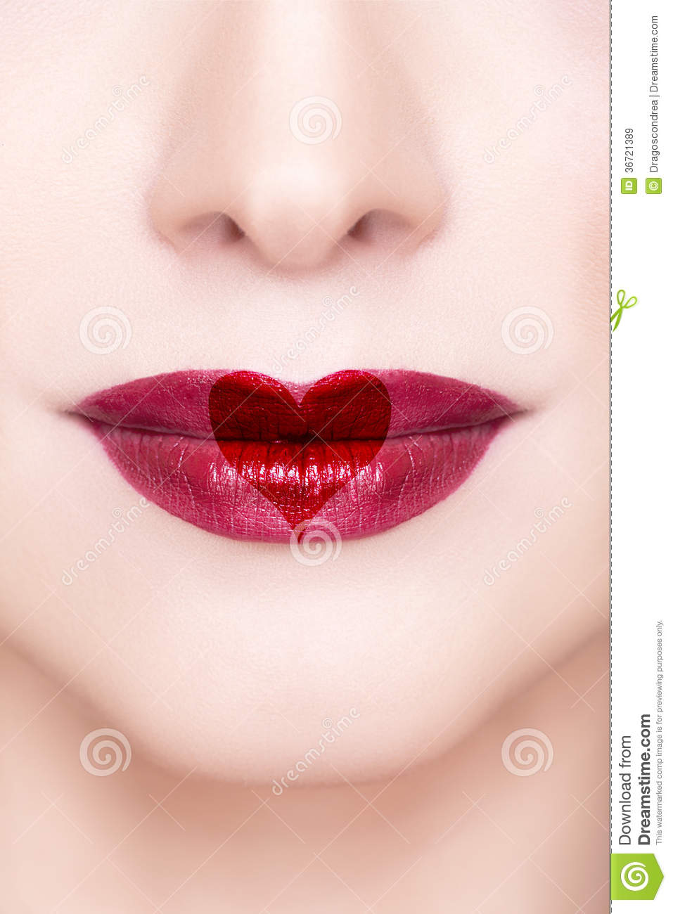 Red Lips With Heart Shape Royalty Free Stock Images - Image 36721389